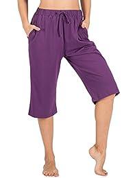 100% Cotton Women Pajama Capri Pants Lounge Pants Pockets...
