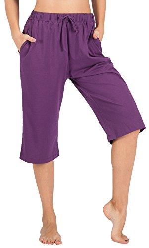 WEWINK CUKOO 100% Cotton Women Pajama Capri Pants Lounge Pants with Pockets Sleepwear (L=US 12-14, Purple) (Purple Sleep Pant)