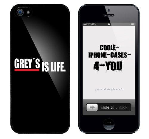 Iphone 5 Case Grey s is life Rahmen schwarz