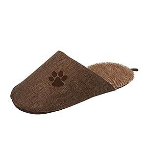 Pet Life Slip-On' Fashion Designer Polar Fleece Animated Slipper Pet Dog Bed House Shoes, One Size, Brown