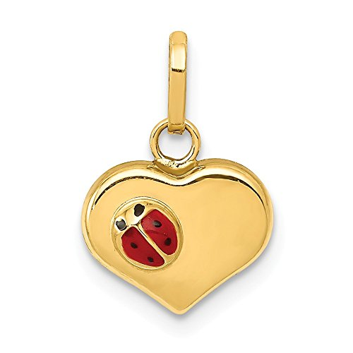 14k Yellow Gold Enameled Ladybug Heart Pendant Charm Necklace Insect Love Ful Fine Jewelry Gifts For Women For Her