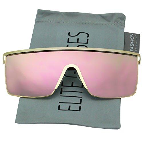 Oversized Flat Top Square VINTAGE RETRO SHIELD VISOR Style Aviator SUNGLASSES (Pink ()