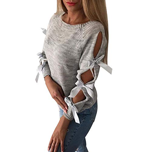 Women Casual Solid Bow Tie Pullover Loose Sweater Jumper Tops Knitwear Blouse