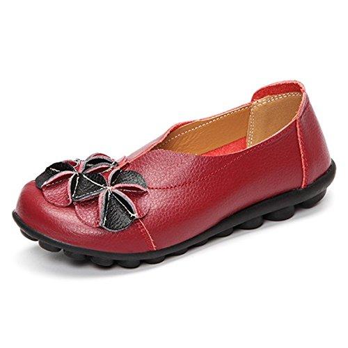 Zapatos Planos Ocasionales Al Aire Libre De Socofy, Resbalón De Las Mujeres En La Decoración De La Flor De Cuero Hechos A Mano Mocasines Casuales Del Vino Rojo