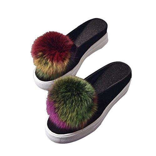 DANDANJIE Zapatillas de Mujer Autumn Pom-Pom Half Zapatillas y Flipflops Cuña de tacón de Cabeza Redonda Ocio Zapatos de Lona Zapatos caseros Verde