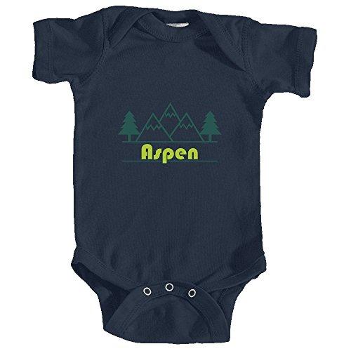 Aspen, Colorado Mountain & Trees in Green - Unisex Infant Baby Onesie/Bodysuit (6MOS, Navy Blue)