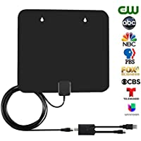 Amplified TV Antenna for 60 Miles Reception Range - NISGEAR Smart TV Antenna with Detachable Amplifier and 10ft Coaxial Cable, Black
