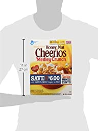 General Mills, Honey Nut Cheerios, Medley Crunch Cereal, 13.1oz Box (Pack of 4)
