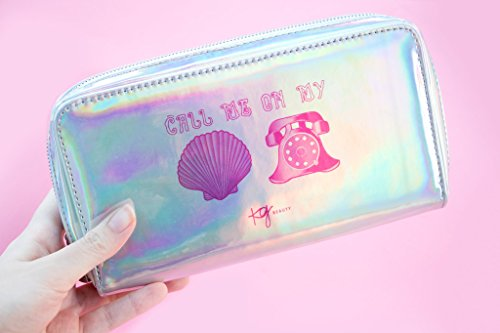 "Holographic Mermaid Makeup Bag Toiletry Travel Bag Organizer""Call Me On My Shell Phone"" Cosmetic Bag Mermaid Makeup Brush Bag Organizer"