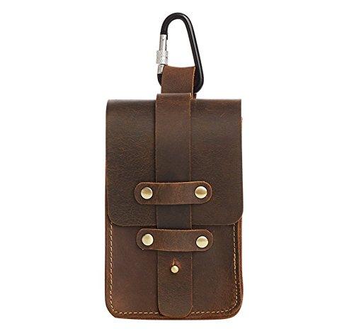 Price comparison product image Men's Crazy Horse Genuine Leather Sling Pouch 6 inches Cellphone Bag Waist Pack Small Stuff Bag Shoulder Satchel Waist Bag Belt Bag (brown 2)