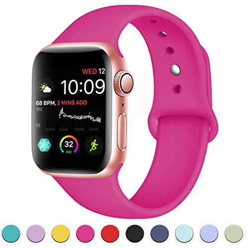 - DaQin Bands Compatible with Apple Watch Band 38mm 40mm, Soft Silicone Sport Replacement Wristbands Strap for Apple iWatch Series 4, Series 3/2/1, Rose Pink, S/M