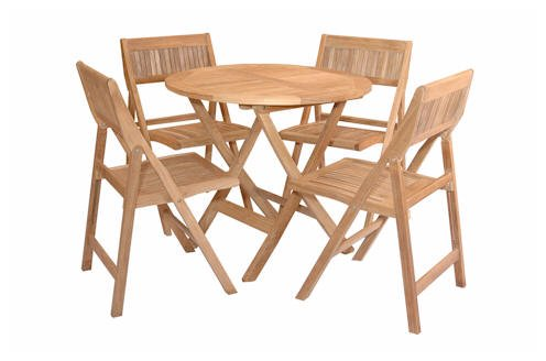 TEAK BISTRO FOLDING PATIO SET w/ 4 Chairs
