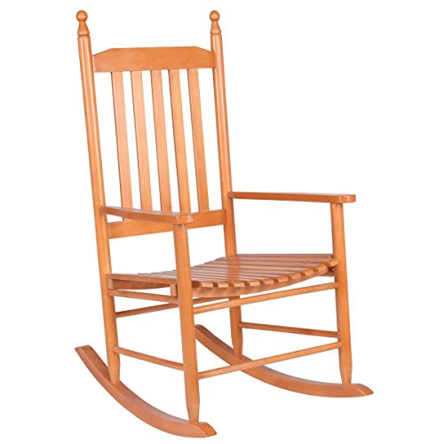 Casart Rocking Chair,Outdoor Indoor Home Wooden Rocking Chairs for Porch, Patio, Living Room, Porch Rocker (Walnut)