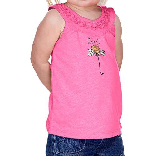 Cute Rascals Magic Flower Orange Infant Girl Cotton/Polyester Ruffle Tank Yoke Tee - Hot Pink, 24 Months