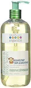 Nature's Baby Organics Shampoo & Body Wash, Coconut Pineapple, 16 oz. |Babies, Kids, Adults! Moisturizing, Soft, Gentle, Rich, Hypoallergenic | No Parabens, SLS, Glutens