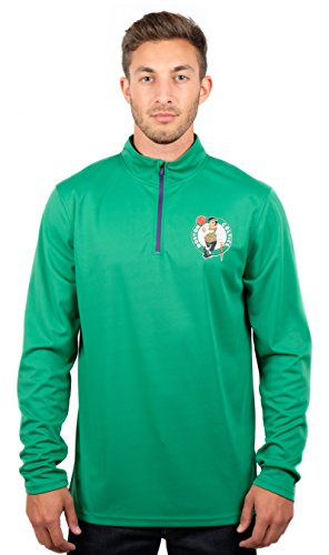 Ultra Game Men's NBA Quarter Zip Pullover Shirt Athletic Quick Dry Tee, Boston Celtics, Team Color, Large