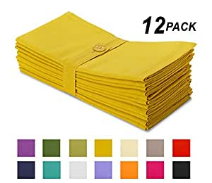 Cotton Craft Napkins, 12 Pack Oversized Dinner Napkins 20x20 Mustard, 100% Cotton, Tailored with Mitered corners and a generous hem, Napkins are 38% larger than standard size napkins