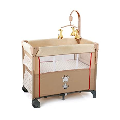 Hauck Dream-n-Care Centre Travel Cot, Giraffe, Beige (Side by Side Sleeper with Drop Down Side, Raised Floor and Under Bed Storage) H-60812