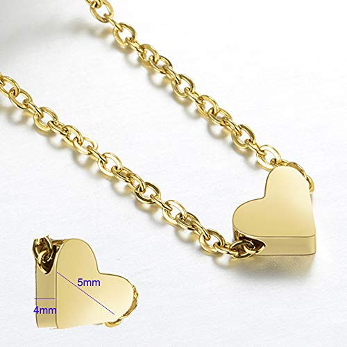 ouzetie Mini Tiny Heart Necklace Pendant with 14K Yellow Gold Plated Sterling Charm Love Choker Pendant for Women Girls Chain by ouzetie (Image #3)