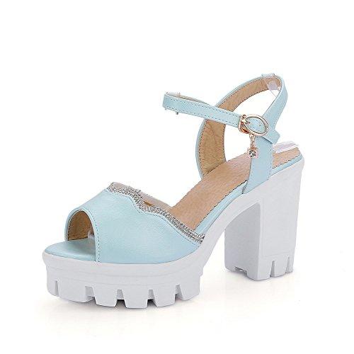 Amoonyfashion Kvinners Titte Toe Høye Hæler Mykt Materiale Fast Spenne Hæl-sandaler Blå