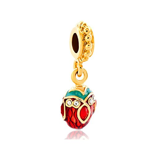 Price comparison product image Charmed Craft Enamel Easter Charms Faberge Egg Charms Dangle Charms Beads for Bracelets (Red)