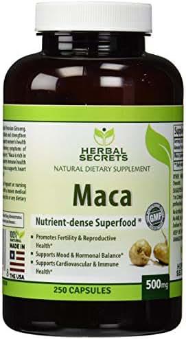 Herbal Secrets Maca 500 Mg 250 Caps - Supports Reproductive Health - Energizing Herb*