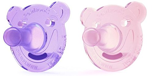 Philips AVENT Soothie Bear Shape Pacifier, Pink/Purple, 0-3 Months, 2 Count