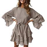 Geetobby Women Casual Dress Elegance O-Neck Ruffles Loose Mini Dress with Belt