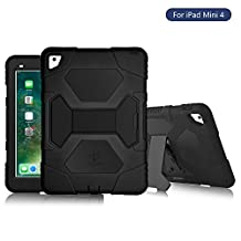 iPad Mini 4 Case, KIDSPR Hybrid Rugged Heavy Duty Shockproof Full Body Silicone Protective Case Cover for Apple iPad Mini 4 Kids Proof with Stand (Black)
