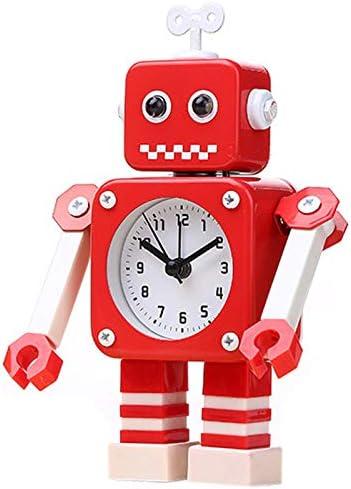 CUHAWUDBA DeformacióN del Robot Alarma Reloj Despertador Peque?O Alarma de Reloj de Estudiante Reloj Despertador de Metal de Dibujos Animados para Ni?Os Encantadores Rojo: Amazon.es: Hogar
