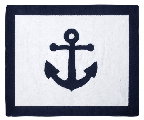Sweet Jojo Designs Anchors Away Nautical Navy and White Accent Floor Rug
