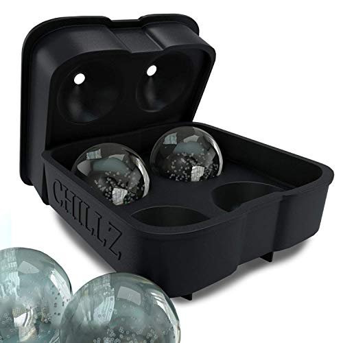 Chillz Ice Ball Maker Mould - Black Flexible Silicone Ice Cube Tray ...