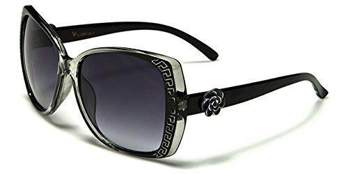 VG Designer RECTANGLE FEMME Lunettes de soleil - COMPLET UV400 Protection GRATUIT vibranthut microfibre poche inclus noir/Translucide Noir
