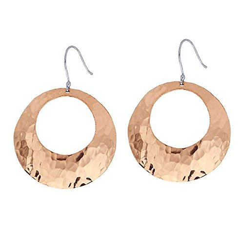 - Large Hammered Solid Copper Hoop Earrings – 45mm Dangling BOHO Circle Copper Jewelry - 1.7 inches