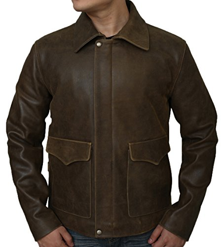 Premium Leather Garments PLG Men's Indiana Jones Harrison Ford Brown Genuine Real Leather Jacket (XL - Suitable For Chest Size 42