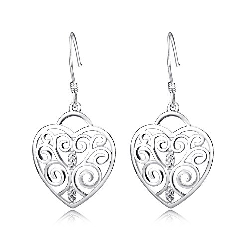(Vaduga's Earrings Beautiful Sterling Silver Highly Polished Filigree Earring Antiallergic jewelry (Heart))