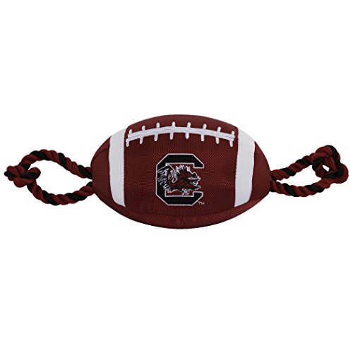 (Pets First NCAA South Carolina Gamecocks Football Dog Toy, Tough Quality Nylon Materials, Strong Pull Ropes, Inner Squeaker, Collegiate Team Color)