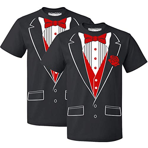 P&B Tuxedo Red Rose Funny Men's T-Shirt, S, Black (Set of 2)