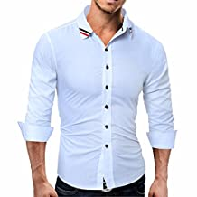 QIYUN.Z Men's Solid Long Sleeve T-shirt Slim Fit Blouse