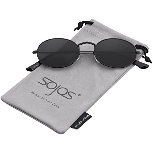 SOJOS Vintage Slender Oval Sunglasses Small Metal Frame Candy Colors SJ1087 with Black Frame/Grey Lens - Small Metal Sunglasses