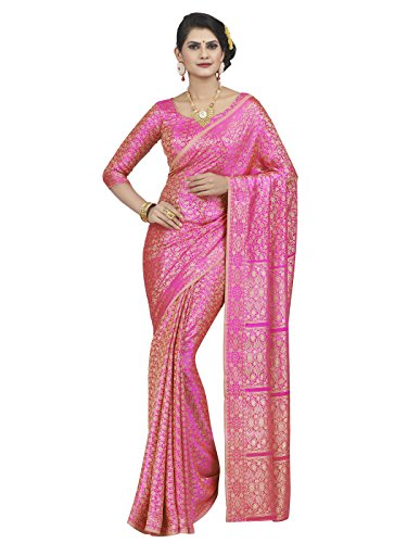 Shonaya-Pink-Colour-Polyester-Silk-Saree-With-Unstitched-Blouse-PieceFree-Size