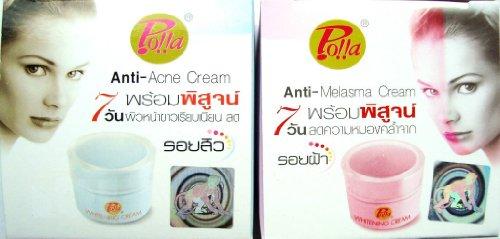 Polla Anti-melasma, Acne, Dark Spot, Whitening Day and Night Creams 5g Product of Thailand