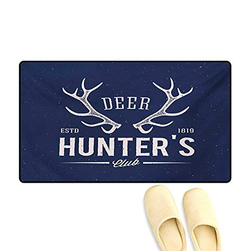 Bath Mat,Deer Hunters Club Logo Design with Antlers Retro Typography Shabby Style Icon,Door Mat Outside,Navy Blue White,16