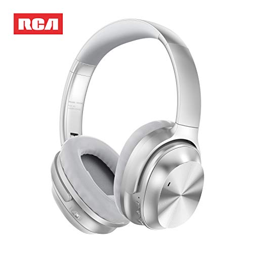 Active Noise Canceling Headphones, RCA Bluetooth 5.0 Headphones Over Ear Wireless Headphones with Mic, Foldable Soft Protein Earpads, 25Hrs Playtime for Travel Work TV PC Cellphone(Silver)