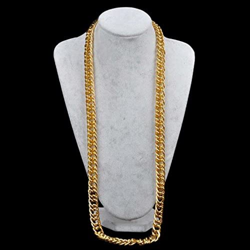TUOKAY 18K Faux Gold Chain Necklace Hip Hop Turnover Chain 90s Punk Style Costume Jewelry 18 inches, 10mm