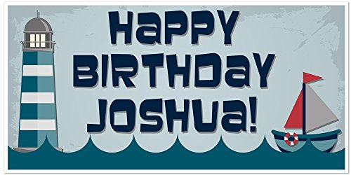 - Lighthouse Sailboat Birthday Banner Personalized Party Backdrop