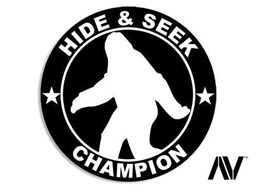 American Vinyl Round Bigfoot Hide and Seek Champion Sticker (Funny Sasquatch yeti Big Foot)