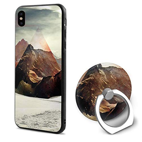 (iPhone X Case Polygon Mountain with Ring Holder 360 Degree Rotating Stand Grip Mounts Slim Soft Protective Cover)
