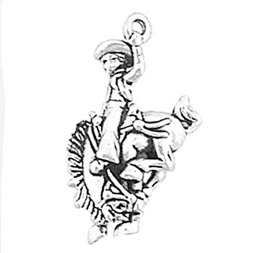 - 925 Sterling Silver American Western Cowboy Bucking Bronco Rider Charm For Bracelet/Necklace