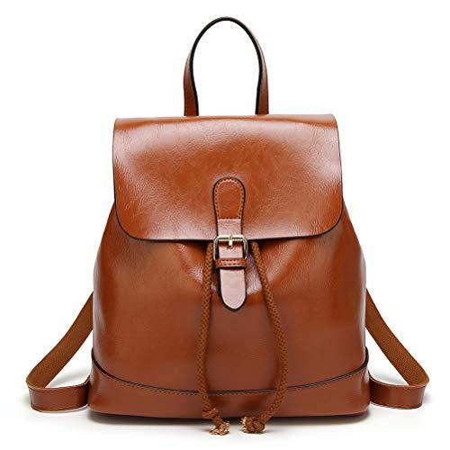 - HaloVa Women's Backpack, Vintage Schoolbag, Girl's Travel Daypack, Trendy PU Leather Shoulders Bag, Anti-Theft Pocket and Drawstring Design, Brown